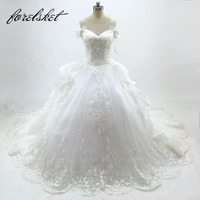 New Model 2017 Off The Shoulder Sleeves Wedding Dresses Ball Gown Luxurious Lace Bridal Dresses With