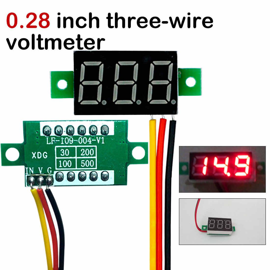 Detectors New Mini 3 Wires Panel Meter 3-Digital LED Display Voltage Voltmeter