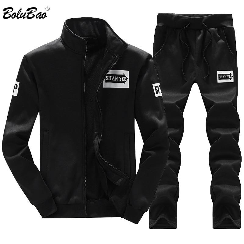 BOLINAO Men Set Tracksuit Two Piece Sets 2019 Spring Autumn Male Thin Sweatshirt + Pants Sporting Suit Men's Set