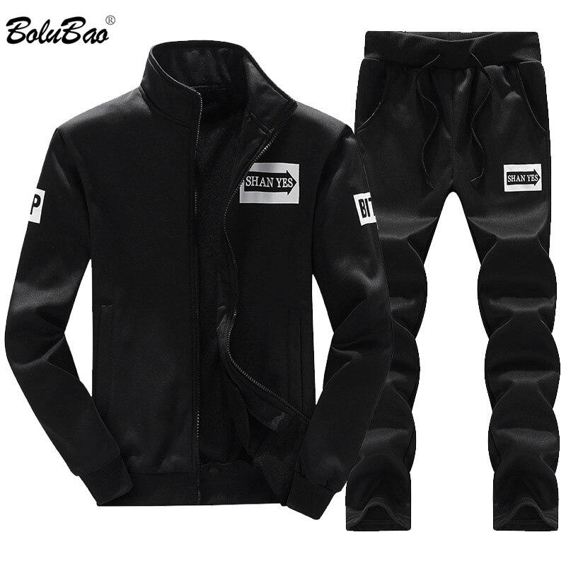 BOLINAO Men Set Tracksuit Two Piece Sets 2020 Spring Autumn Male Thin Sweatshirt + Pants Sporting Suit Men's Set