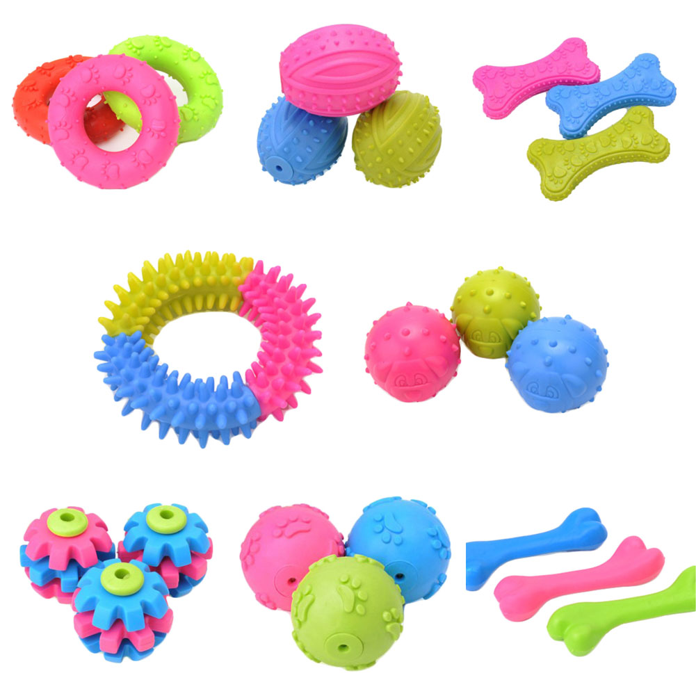 Dog Toys Rubber Chew Squeaky Pet Toy Ball Environmentally TPR Interactive Game Toys For Dog Cheap Squeaker 8 Styles