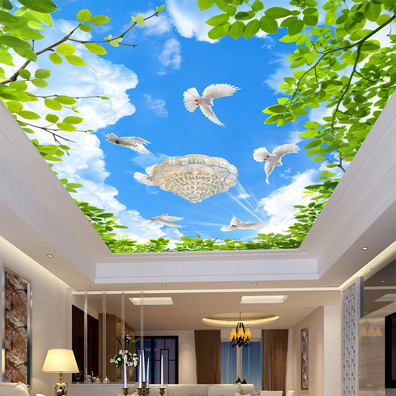 HD Blue Sky Pigeon Wallpapers Ceiling Mural Wallpaper 3D Stereo Space Wall Papers Personalized Living Room Hotel Papel De Parede