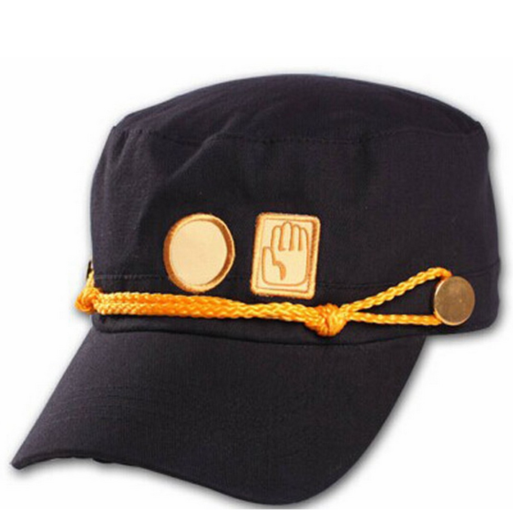 JOJO's Bizarre Adventure Kujo Jotaro Hat Anime Cosplay Costume Props Cool Black Cap Fashion Hip Hop Hats For Men Women Boys Girl