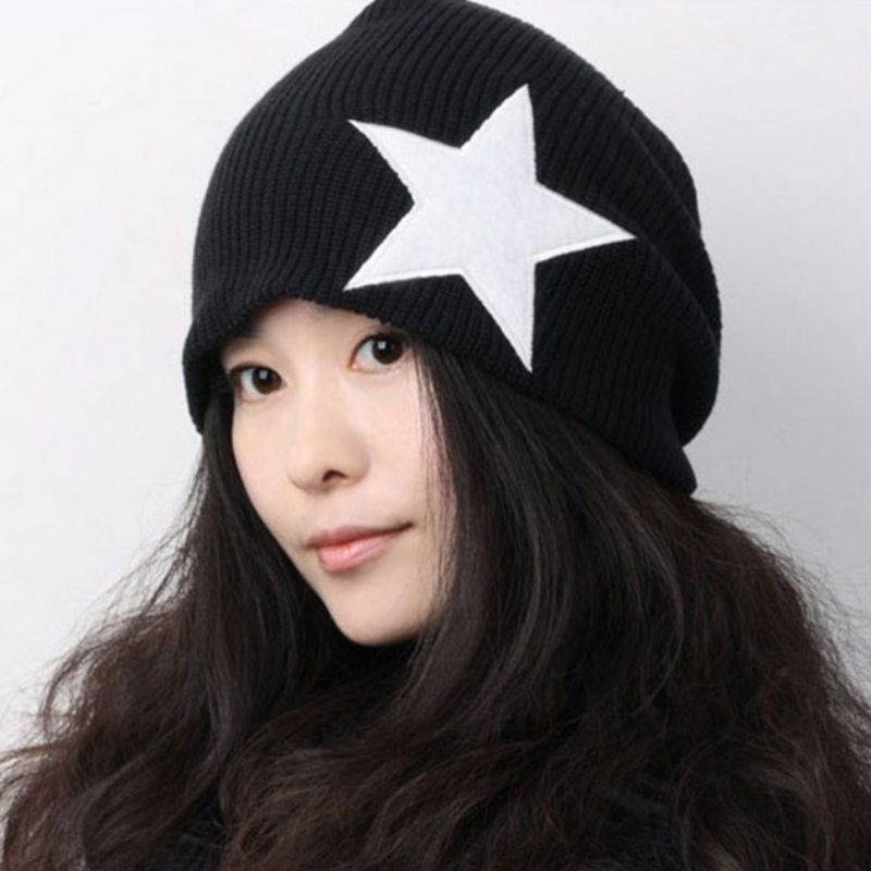 Pentacle Star Warm Skull Beanie Hip Hop Knit Cap Crochet Cuff winter Hat For Women Men pentacle star warm skull beanie hip hop knit cap crochet cuff winter hat for women men hot sale