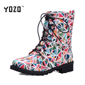YOZO Mulheres Botas de Moda Do Punk Botas De Couro Mulheres Botas Chelsea Impressão Mulheres Dedo Do Pé Redondo Martin Botas Chaussures Femme Novo 2016