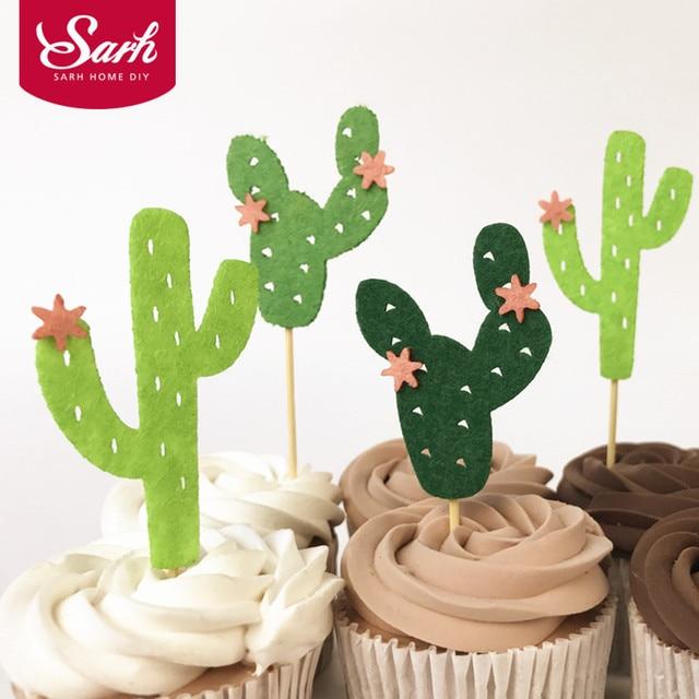 6 Teilepaket Grün Cacti Kaktus Geburtstag Kuchen Eingesetzt Karte