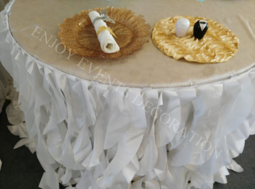 YHT#203 19ft fancy taffeta curly willow sashes table skirt for events docor ...