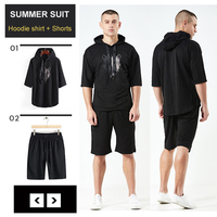 NIGRITY Men's Casual Tracksuit hoodie shirt with Shorts Men's Sets Male Sweatshirt Pant Men's Cropped T Shirt Shorts Sportswear