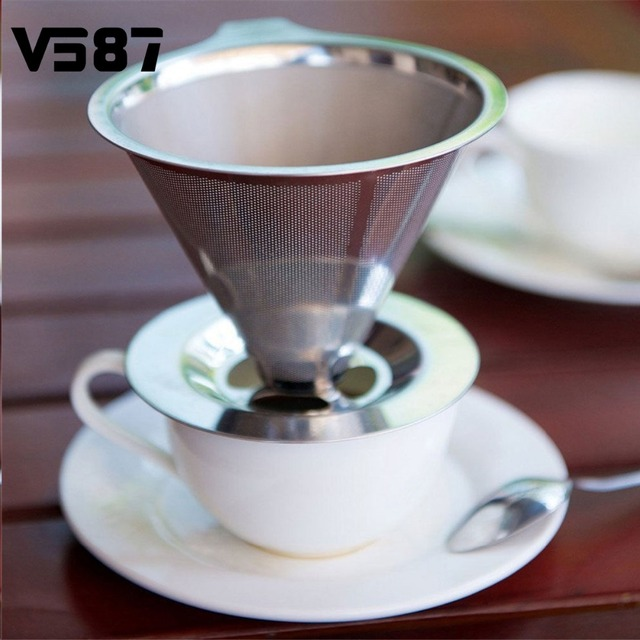 Stainless Steel Pour Over Cone Coffee Dripper Double Layer Mesh Filter Paperless Home Kitchen