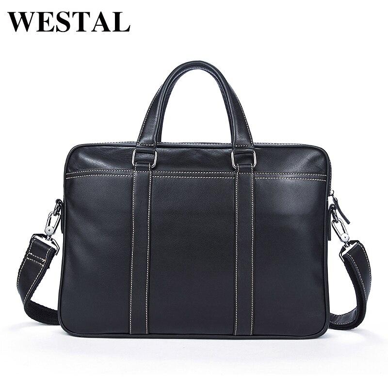 WESTAL Simple Briefcases Business Men Briefcase Bag Genuine Leather Laptop Casual Man Bag Shoulder bags Crossbody Bags 7612 цена и фото