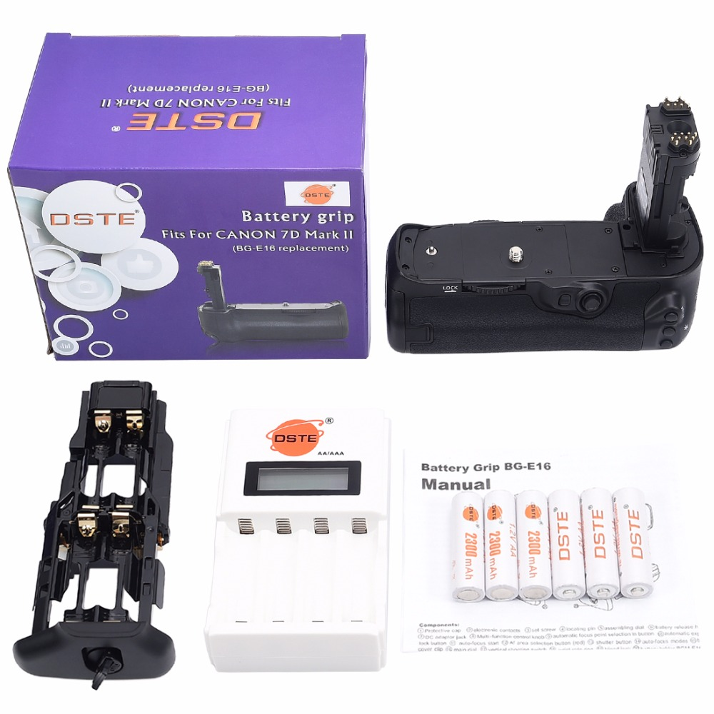 DSTE BG-E16 Battery Grip + Charger + 6x Rechargeable Batteries NI-MH AA Battery for Canon 7D MARK II DSLR Camera dste 3pcs sl 360 ni mh battery for spectralink pts360 9031 mdw9030p mdw9031 ptb400 ptb710 ptb810 ptb81650