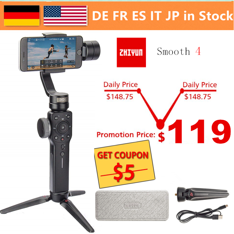 Zhiyun Smooth 4 Vlog 3-Axis Handheld Gimbal Stabilizer for iPhone Xs Max Xr X 8 Plus 7 Huawei & Samsung S9,8&Gopro Action CameraZhiyun Smooth 4 Vlog 3-Axis Handheld Gimbal Stabilizer for iPhone Xs Max Xr X 8 Plus 7 Huawei & Samsung S9,8&Gopro Action Camera