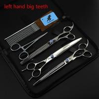 8 INCH Left Hand Professional Pet Scissors Sets JP440C 61HRC Straight Thinning Curved Scissors Sets 3PCS