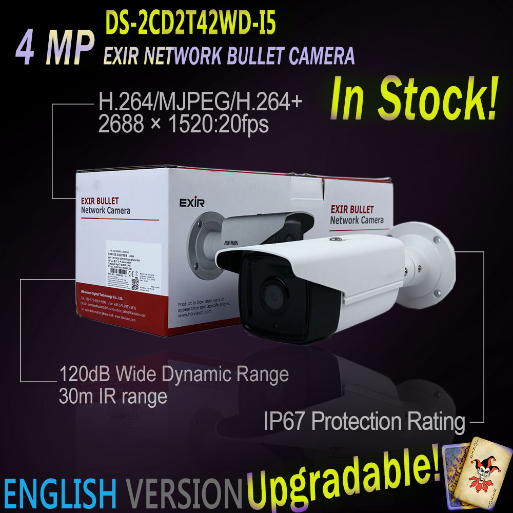 In Stock DS-2CD2T42WD-I5 Original English Version 4MP IP EXIR Bullet Camera POE security replace DS-2CD3T45-I5 ipcam