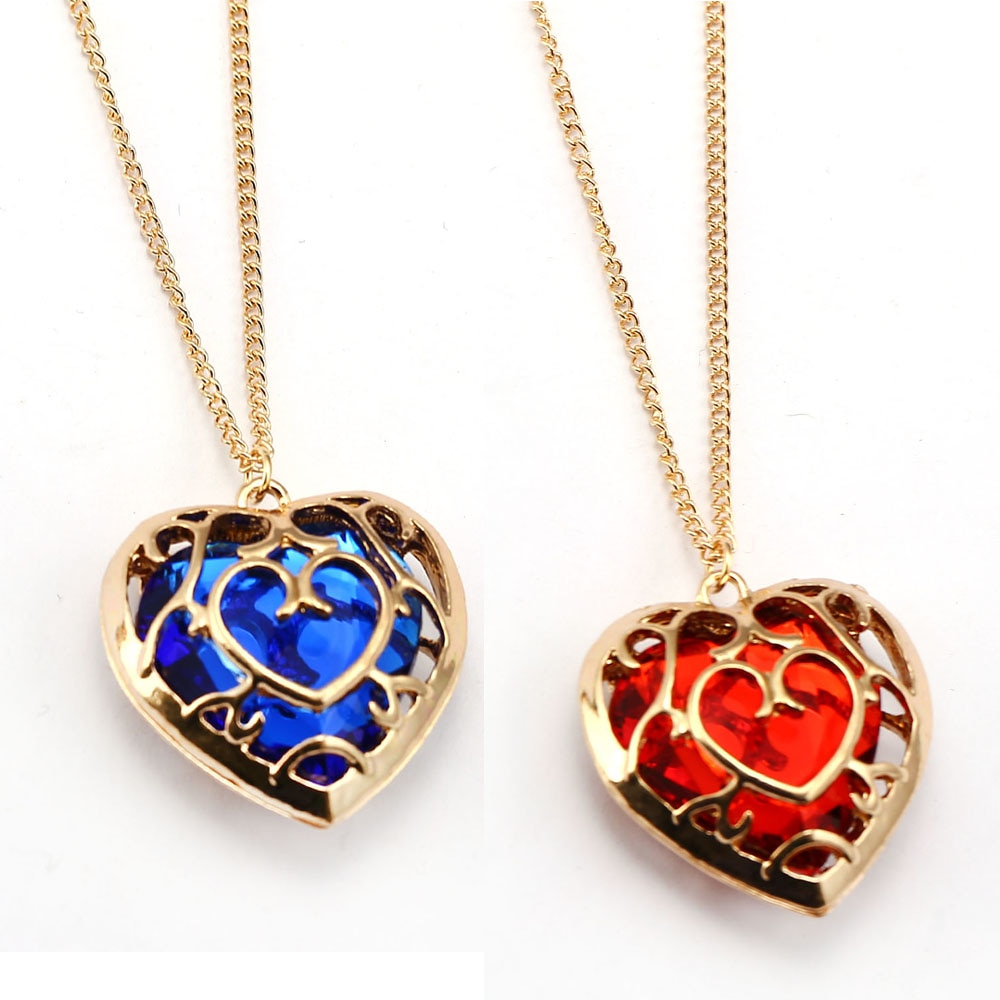 Legend Of Zelda Necklace hollow out Heart Crystal Fashion Pendant