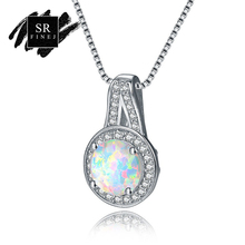 SR:FINEJ Fashion Silver 925 Jewelry White Color Round Opal And CZ Crystal Pendant Necklaces Silver Chain Accessories For Women(China)