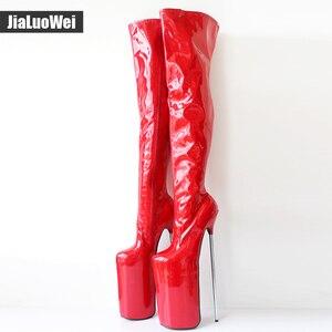 Image 4 - Jialuowei النساء مثير صنم الرقص ملهى ليلي الأحذية 30 سنتيمتر المتطرفة عالية الكعب المعادن الكعوب منصة سستة فوق الركبة الفخذ أحذية عالية