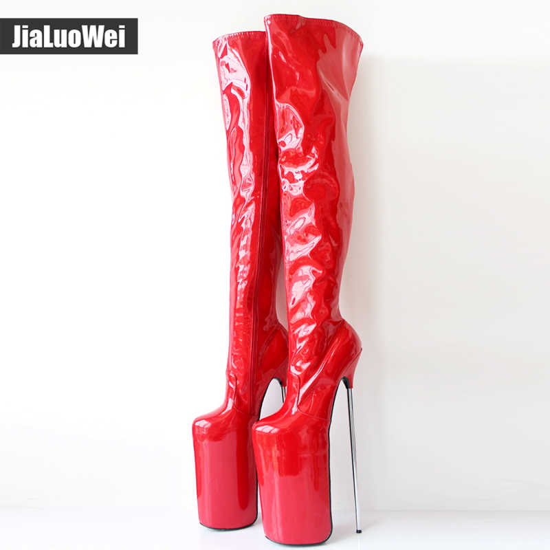 Jialuowei Kadınlar Seksi Fetiş Dans Gece Kulübü Botları 30 CM Extreme Yüksek Topuk Metal Topuklu Platformu Fermuar Diz Üzerinde Uyluk Yüksek çizmeler