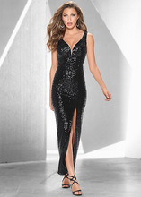 European And American Deep V Collar Sexy Strapless Slit Sequin Dress  Evening Party KLY1514 7cab22cb0e62