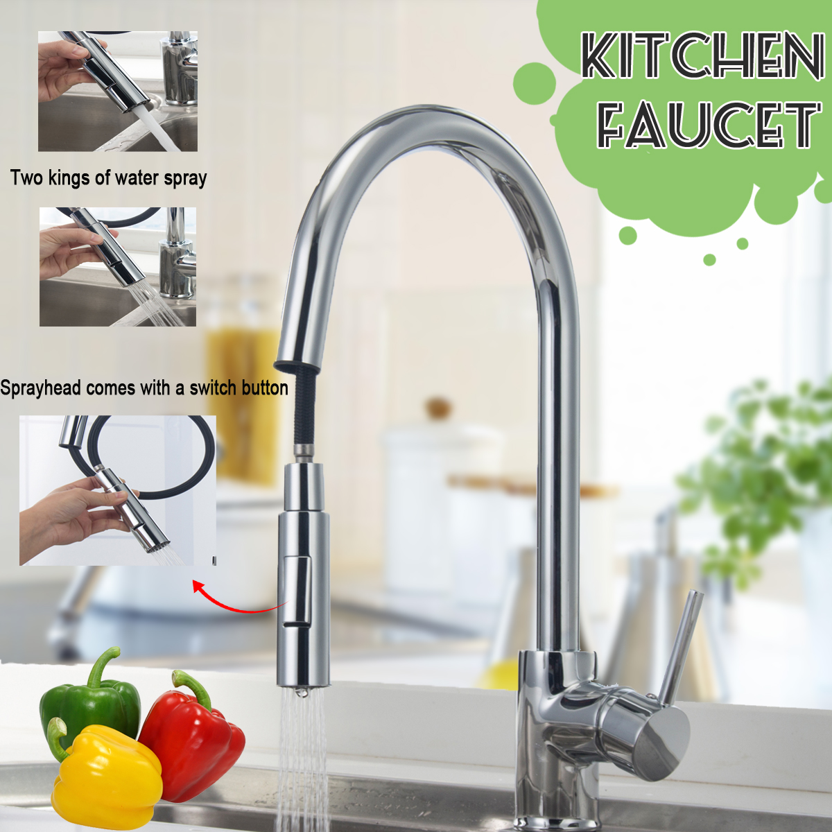 Xueqin Pull-out Sprayer Kitchen Faucet Single Handle Single Hole Kitchen Tap With Two Braided Hoses Mixer Tap Watermark&WelsXueqin Pull-out Sprayer Kitchen Faucet Single Handle Single Hole Kitchen Tap With Two Braided Hoses Mixer Tap Watermark&Wels