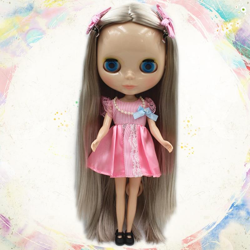 Blygirl Silver straight hair bare baby 30cm ordinary body 7 joint Blyth fashion doll