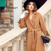 ANNROOT Women Camel Color Wool Coat Top Design New Long Jackets High Quality Women Cashmere Coat