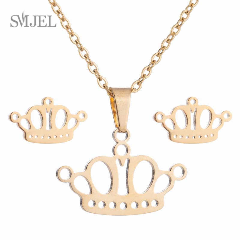 SMJEL Statement Crown Necklace For Women and Girls Cute Kids Gifts Stainless Steel Necklace Set Birthday Charm Jewelry