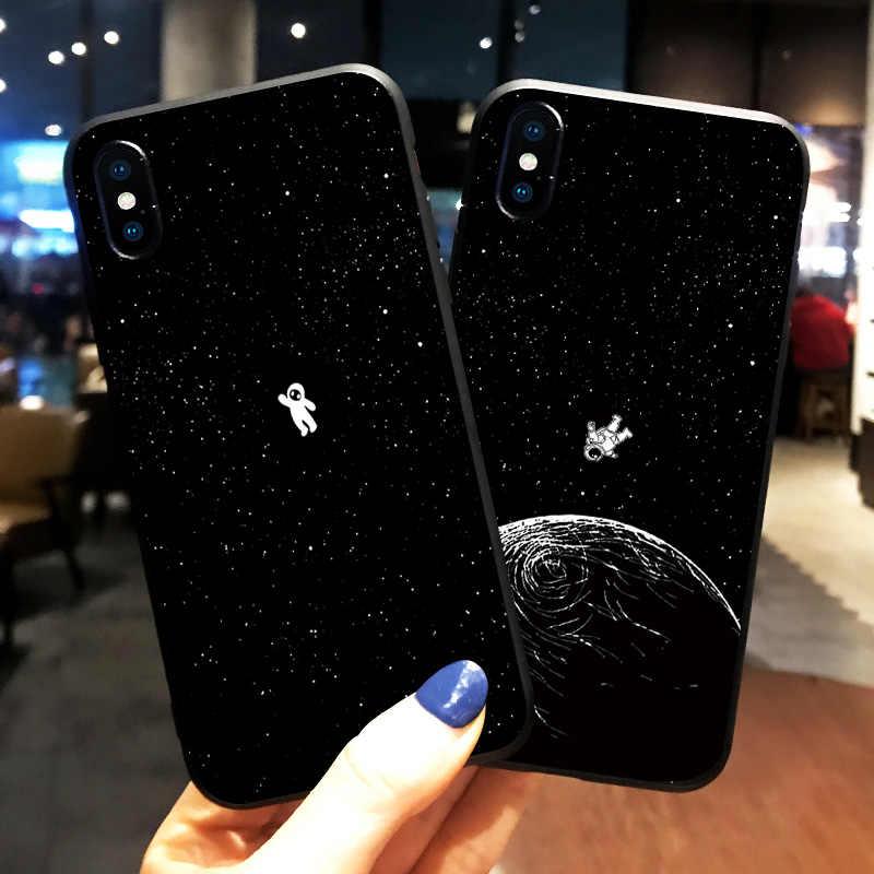 Новейшая модель; Космос Луна астронавт телефонные чехлы для iphone 7 8 X чехол для iphone 6 7plus XR XS Max планета, звезда матовый мягкий чехол для задней крышки