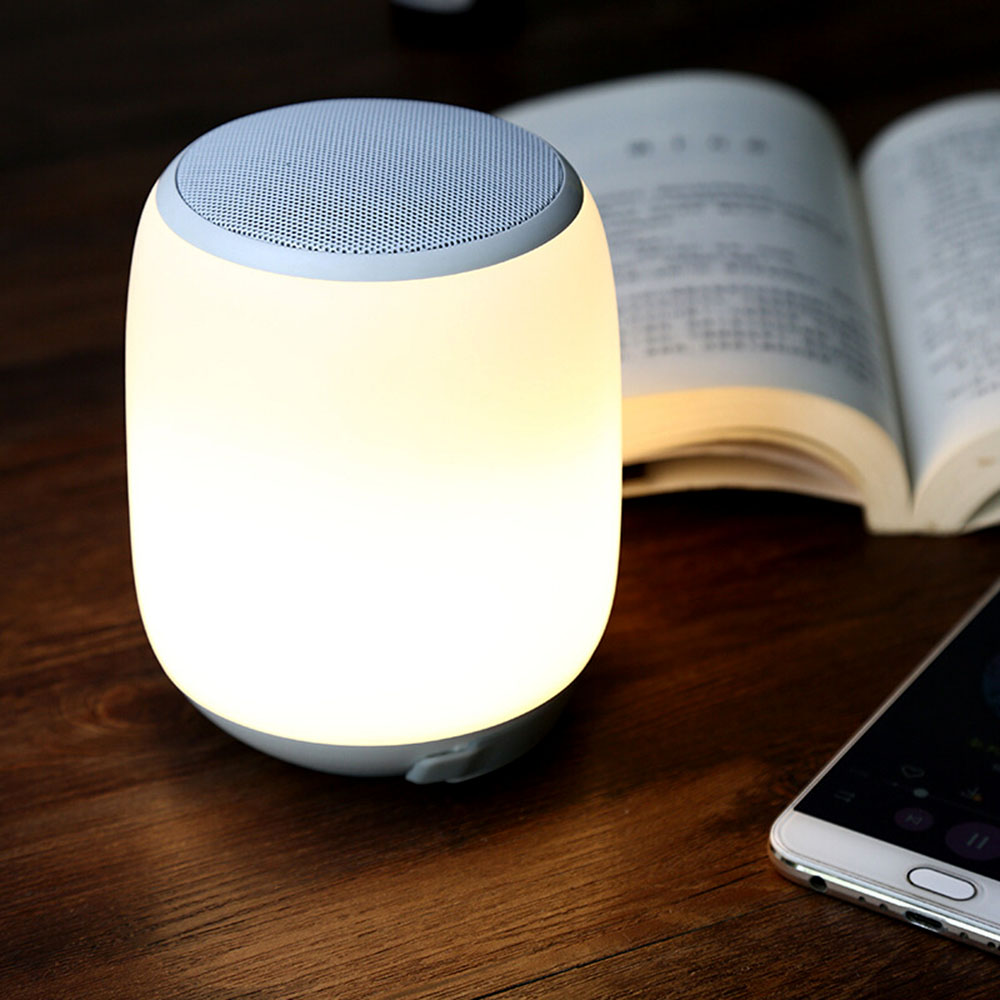 Luz de noche con Altavoz Bluetooth altavoz inalámbrico portátil con Bluetooth Control táctil Color LED lámpara de mesa de noche-in Lámparas LED de escritorio from Luces e iluminación