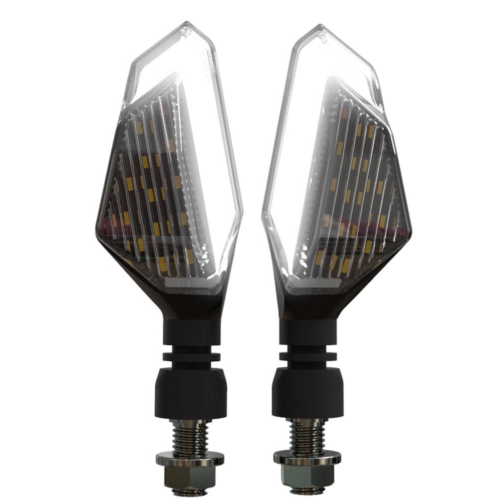 2 шт., светодиодный указатель поворота для мотоцикла, левая и правая сигнальная лампа, дневные ходовые огни, индикаторы, мигалки для Honda Kawasaki - Цвет: White