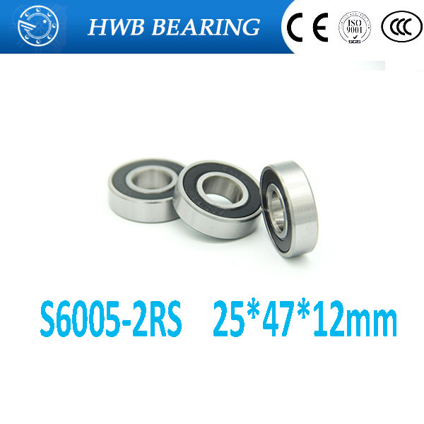 Free shipping S6005-2RS stainless steel 440C hybrid ceramic deep groove ball bearing 25x47x12mm free shipping wheel hub bearing 15267 2rs 15 26 7mm 15267 rs stainless steel si3n4 hybrid ceramic bearing