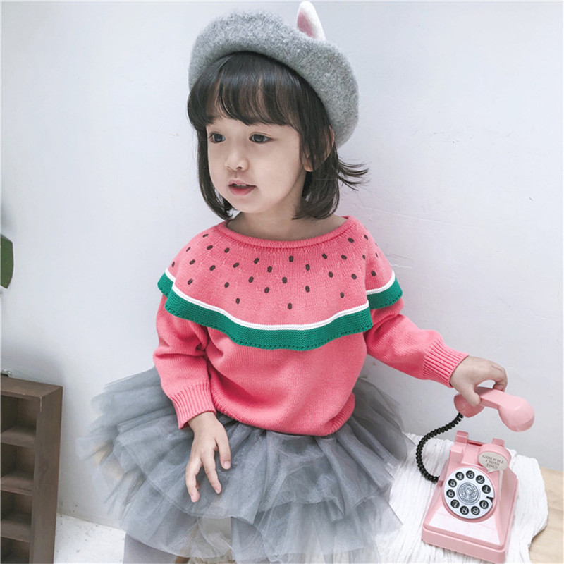 2018 New Children Winter Sweaters Girls Red Watermelon Sweaters Kids Lovely Big Collar -3138