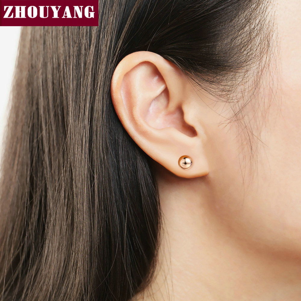 Simple Style Small Bean RoseGold Color Sutd Earrings Fashion Jewelry ZYE422 ZYE445