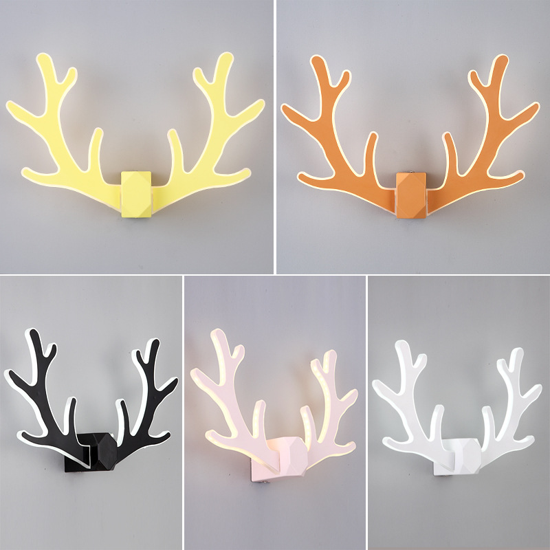 Modern minimalist antler wall lamp bedroom bedside lamp aisle staircase Nordic creative living room deer head wall lamp IY121778 modern minimalist 9w led acrylic circular wall lights white living room bedroom bedside aisle creative ceiling lamp