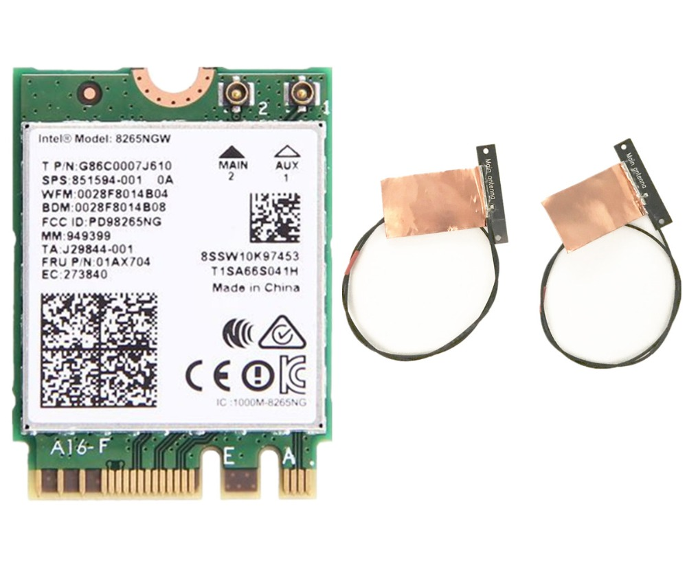 New Dual Band Wlan For Intel 8265NGW Wireless-AC 8265 NGFF 802.11ac 867Mbps 2x2 WIFI 802.11ac Wi-Fi + Bluetooth 4.2 Card 2.4G/5G