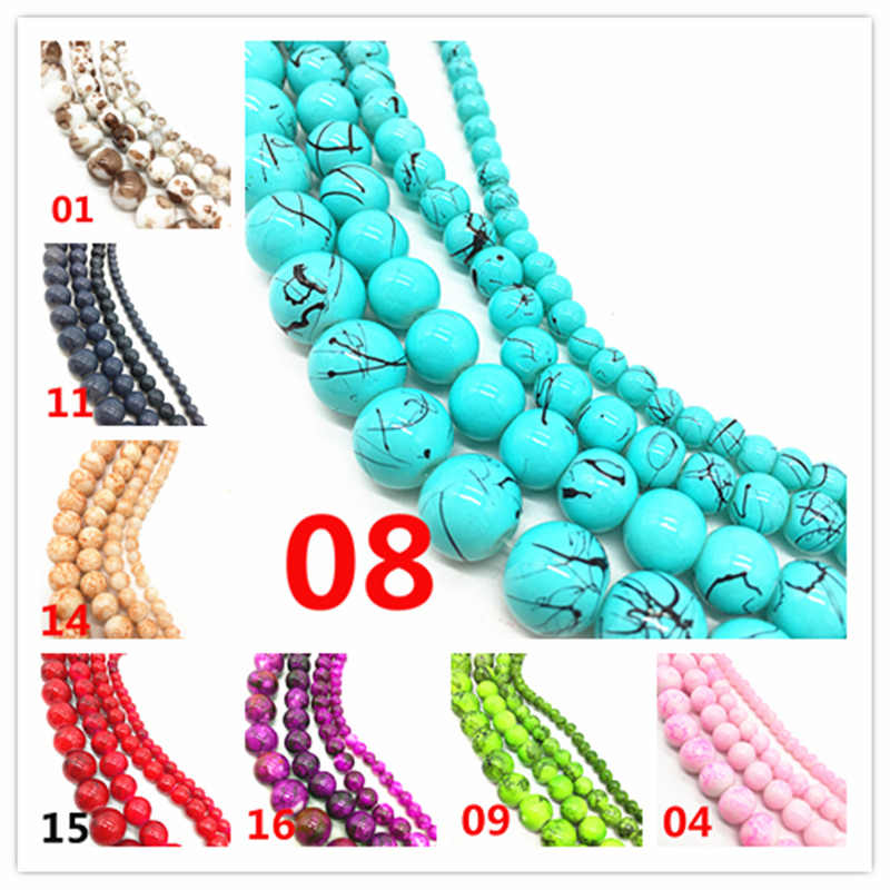 Wholesale 4 /6 /8 /10 mm Chic Glass Loose Spacer Charm Beads Pattern DIY Jewelry Making