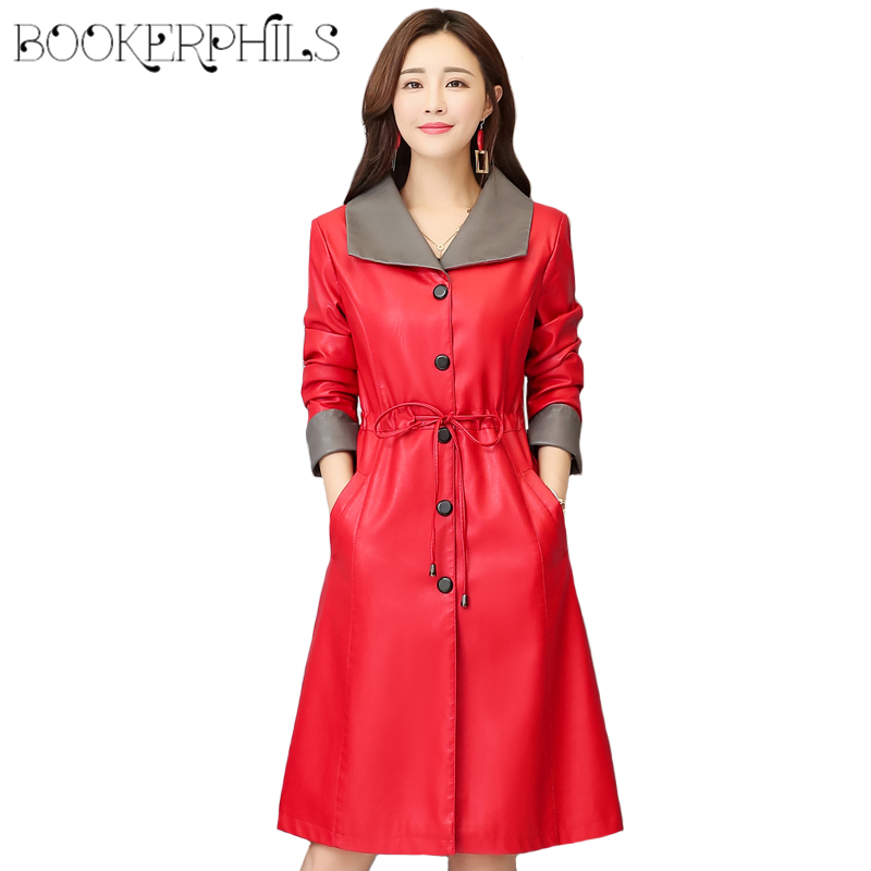 Long Soft   Leather   Jacket Women Winter Autumn Fashion   Leather   Coat Female Plus Size 4XL Turn Collar Outerwear Slim Trench Coat