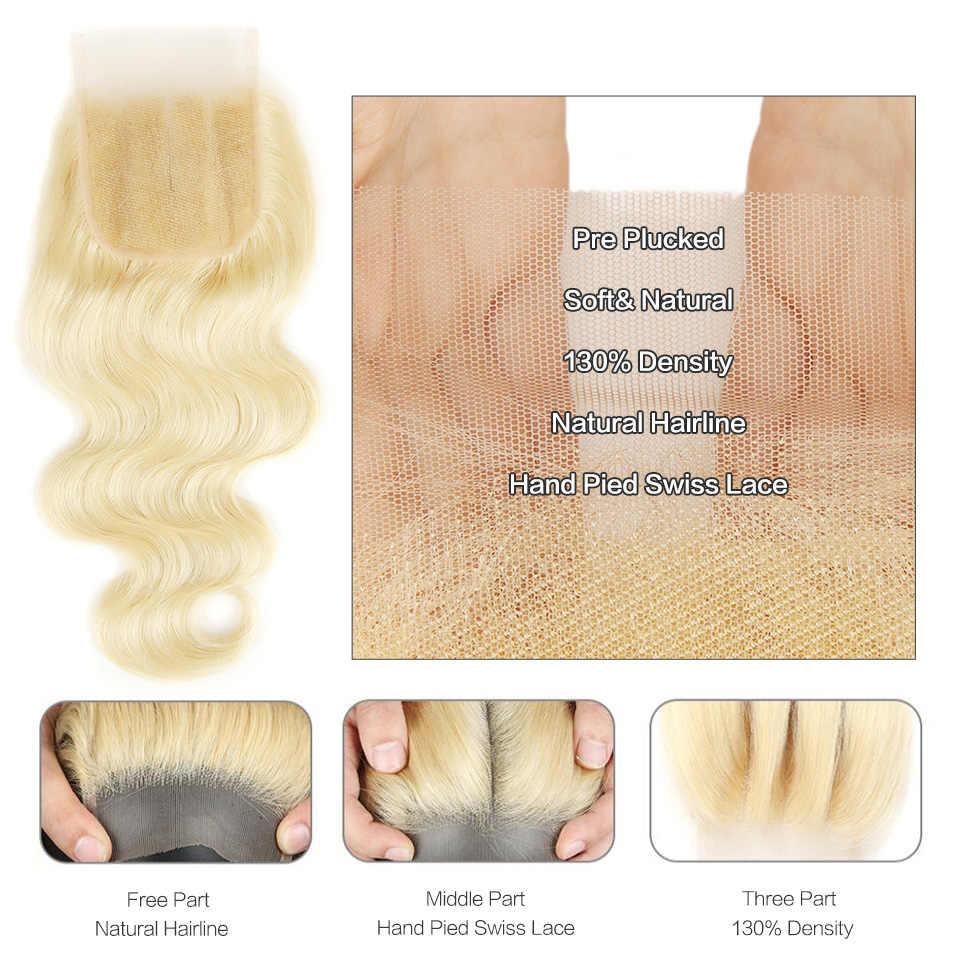 Черный жемчуг 613 пучки с закрытием 100 г/шт. бразильские волнистые человеческие волосы Remy плетение светлые пучки с закрытием
