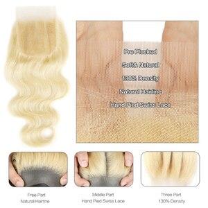 Image 5 - Black Pearl 613 Bundles With Closure 100g/Pcs Brazilian Body Wave Remy Human Hair Weave Blonde Bundles With Closure