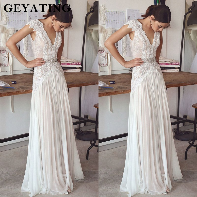 Bohemian Lace V Neck Wedding Dress 2019 Vintage A Line Beach Boho Wedding Dresses Nude Lining Sexy Backless Bridal Gowns Long