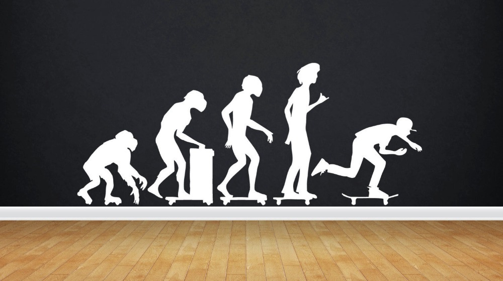 Skate Wall Decal Evolution Skateboarding Freestyle Sport Mural Art PVC Wall Sticker Boys Room Bedroom Removeable Home Decoration
