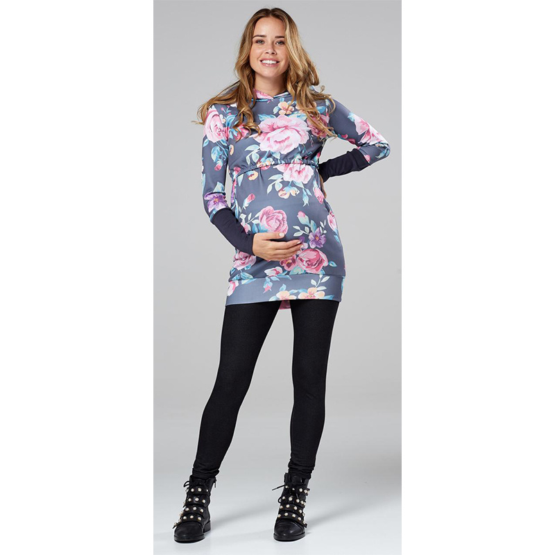 Fashion Maternity Hoodies Pregnant Women 39 s Breastfeeding Clothing Autumn Winter Floral Print Pullover Pregnancy Hoodies S XL in Hoodies from Mother amp Kids