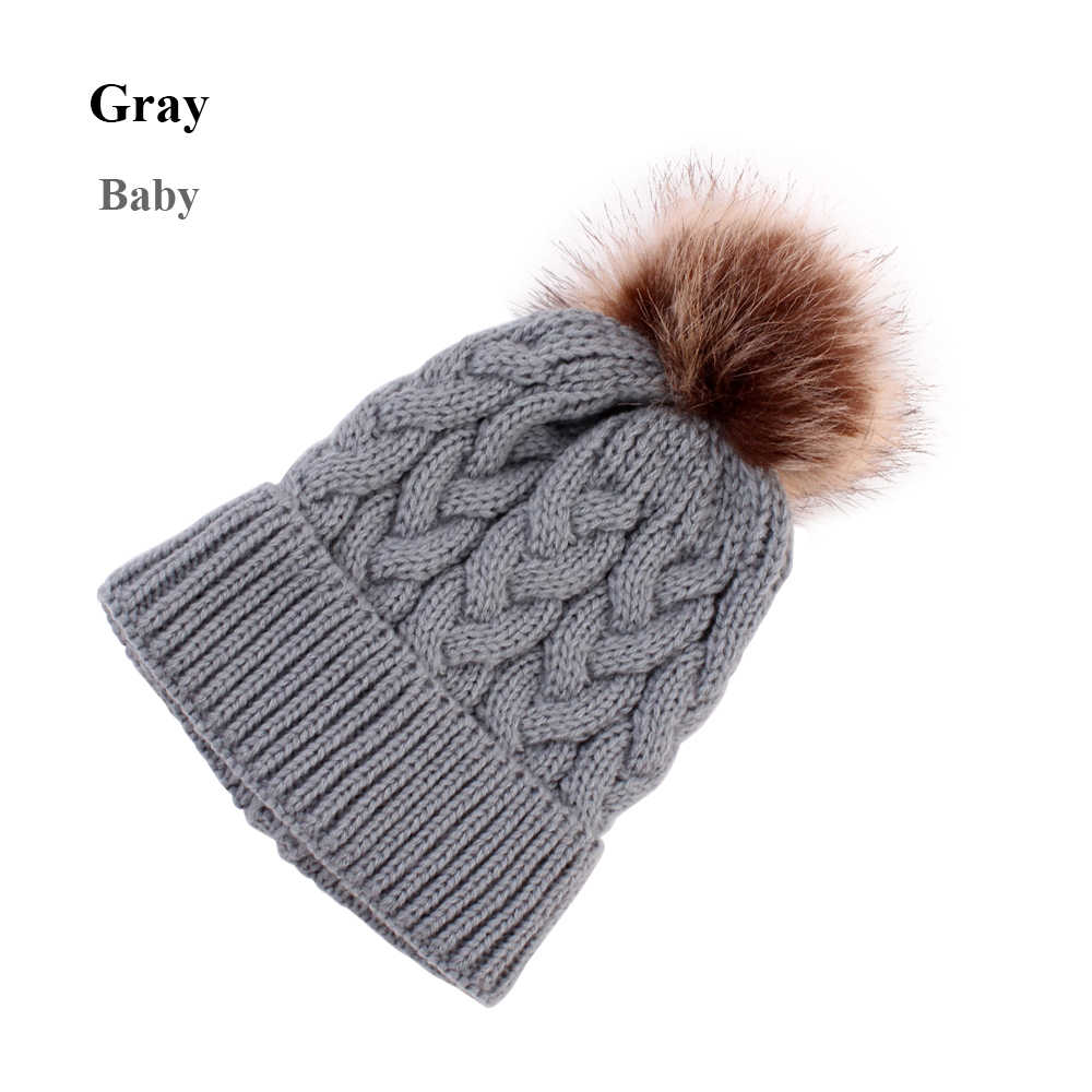 889c75f43 2018NEW Arrivals Girl Winter Knit Beanie Hat Kid Child Warm Fur Pom Hat  Crochet Hairball Soft Ski Outdoor Cap Fashion Xmas Gift