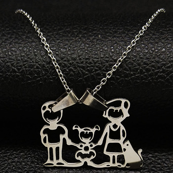 Unisex Family Necklace Jewelry Necklaces Women Jewelry Metal Color: 1Girl Cat
