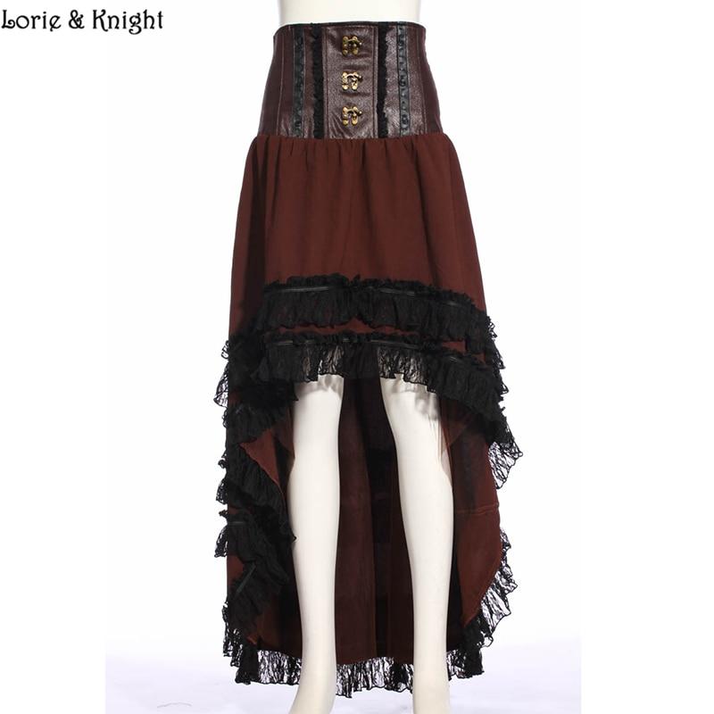 Women's Asymmetrical Low-High Lace Hem Gothic Steampunk High Waist Long Skirt SP188 asymmetrical suede high waist fringed skirt