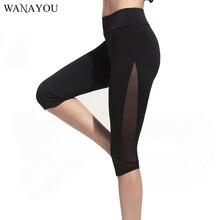 WANAYOU Sexy malla Patchwork corriendo medias negro rodilla Leggings  longitud elástico deportes Jogging medias Yoga pantalones r. d9601c1d997f
