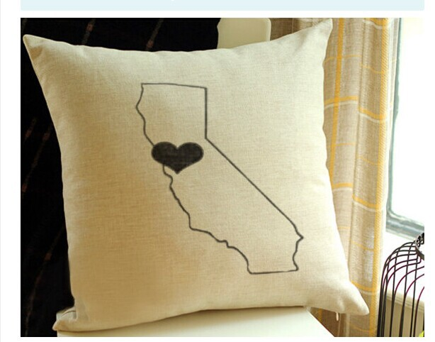 Free shipping new design custom state pillow cover with heart personalized map pillow linen throw pillow home decorative