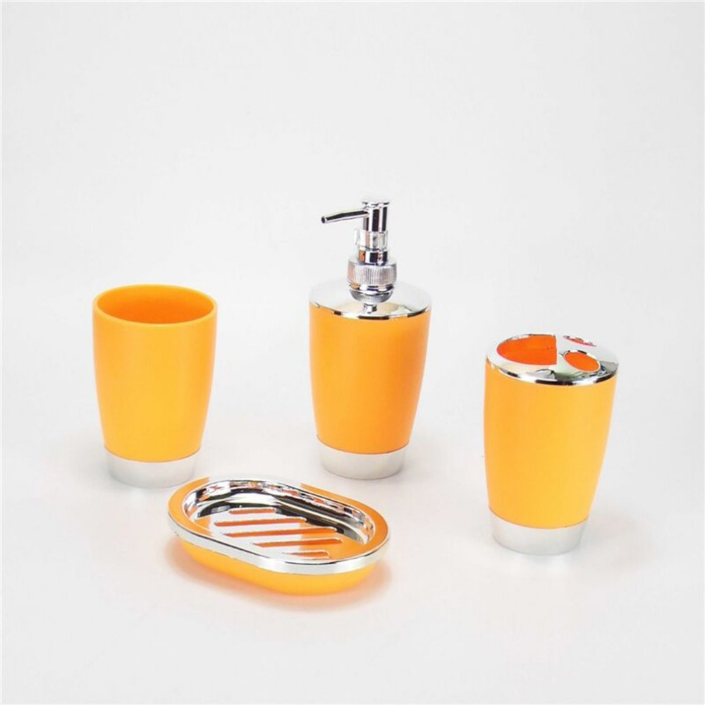 6PCS Electroplating Plastic Bathroom Toiletries Set Lotion Bottle Garbage Bucket Toothbrush Holder Tooth Mug Bathroom Products