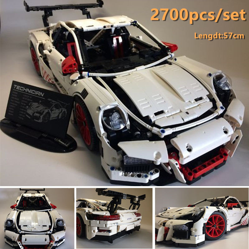 Nouvelle technique Porsche Super course voiture fit legoings technique vitesse voiture modèle kits de construction blocs briques jouets garçons cadeau d'anniversaire
