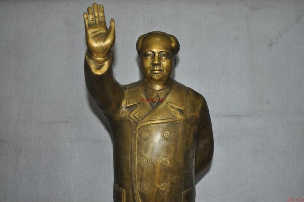 6 cm China Pure Copper Bronze Great Leader Mao Ze Dong MaoZeDong Stand Statue